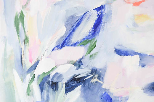 Abstract painting in blues by artist Liz Lane at Liz Lane Gallery in Homewood, AL
