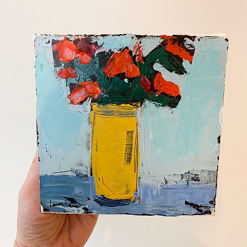 Floral by Lorrie Lane, 6x6, oil on canvas