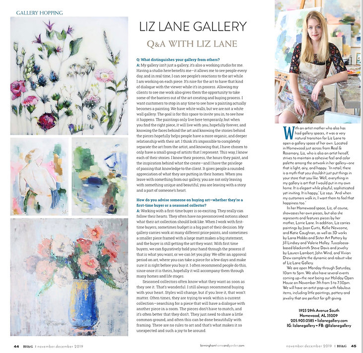 Interview with artist Liz Lane about her studio gallery, Liz Lane Gallery an art gallery in Homeood, AL featured in Birmingham Home & Garden, a locally based publication featuring home decor and interior design