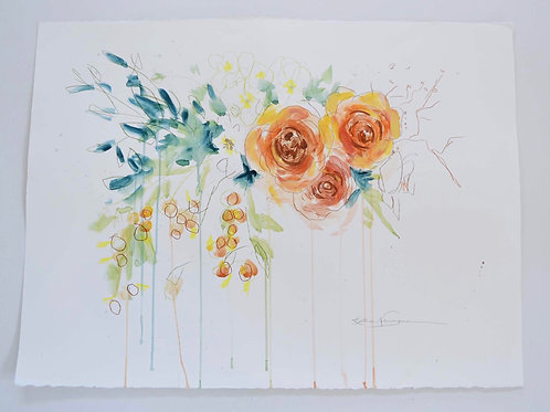 24x30, Floral on paper