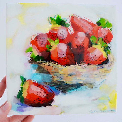 8x8, Strawberry basket on panel