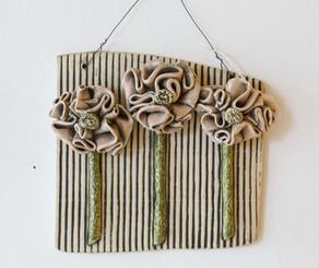 Sister Art Pottery l hand built floral wall hanging l Birmingham