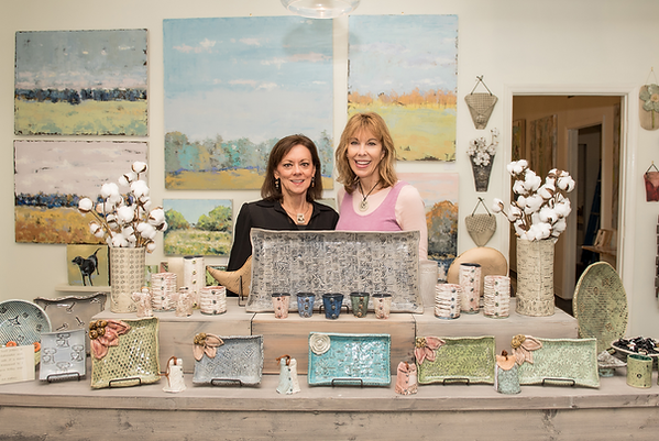 Ceramic artists and sisters Valerie Holley and Jill Lindsey with their handbuilt pottery in Liz Lane Gallery, and art gallery located in Homewood, Alabama