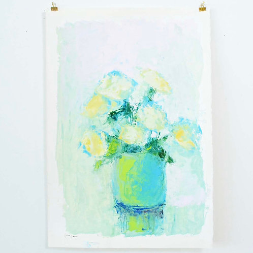 22x15,  Florals in Green