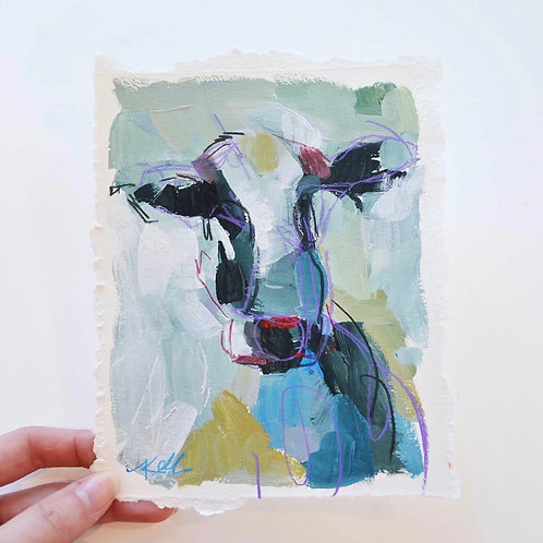 5x7, Cow on paper