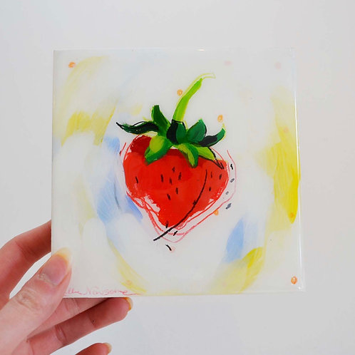 5x5, Strawberry on panel