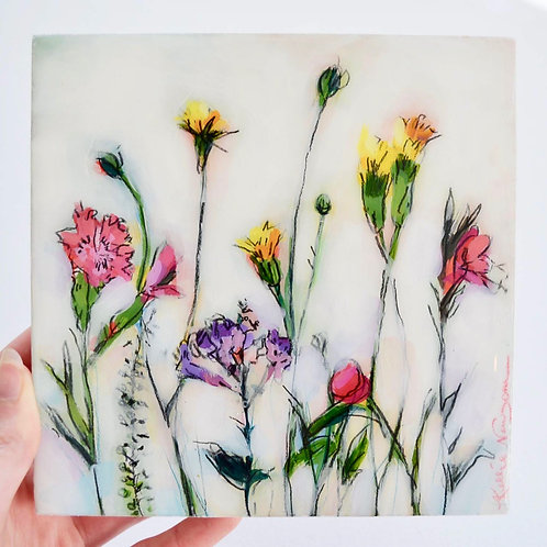 6x6, Floral on panel