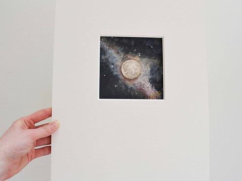 4x4 (11x14 matte), Moon watercolor