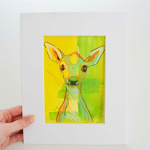 4.5x6.5 (8x10), Deer on paper