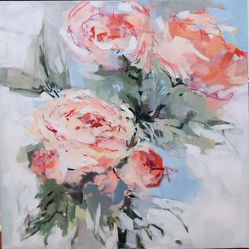 36x36, Peach Sundress