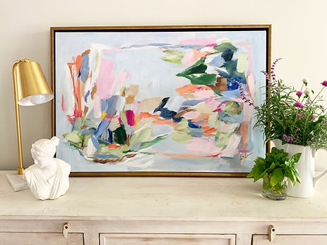 Abstract painting in the home, blues by artist Liz Lane at Liz Lane Gallery in Homewood, AL