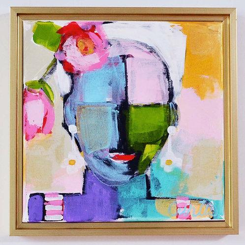 13.5x13.5, Lady on canvas