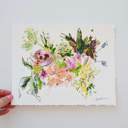 10x8, Bouquet on paper