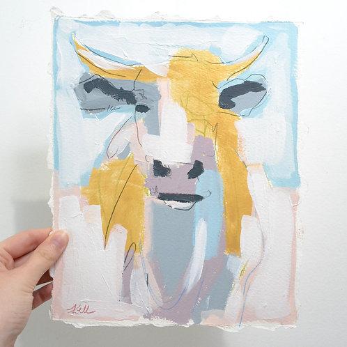10x8, Bull in Gold Shimmer