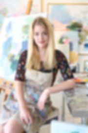 Artist Liz Lane in her studio and working gallery in Homewood, Alabama, Liz Lane Gallery