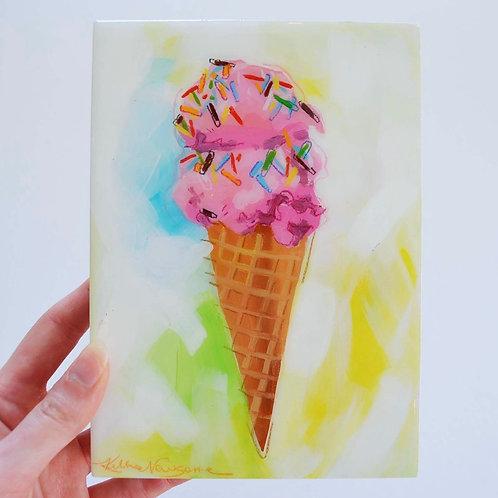5x7, Ice cream on panel