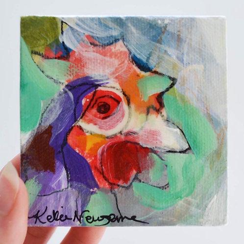 3x3, Mini chicken on canvas