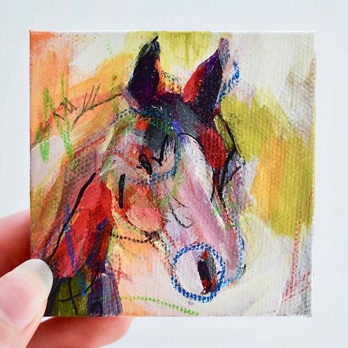 3x3, Mini horse on canvas