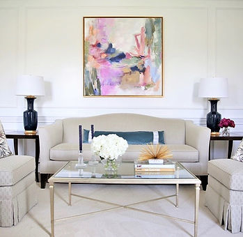 Original painting in the home of client, represented by Liz Lane Gallery an art gallery in Homeood, AL