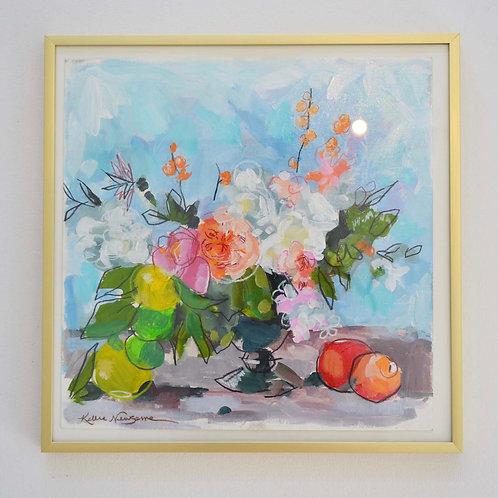 12x12, Floral on paper, framed