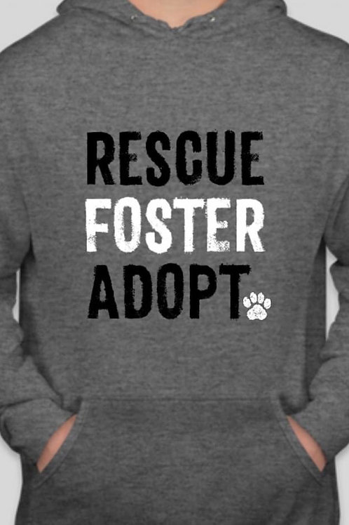"GREY ""RESCUE FOSTER ADOPT"" HOODIE"