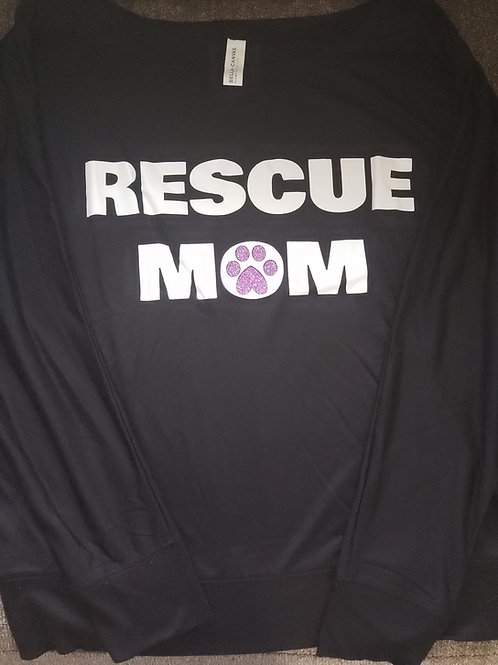 "BLACK WOMENS ""RESCUE MOM"" DOLMAN LONG SLEEVE"