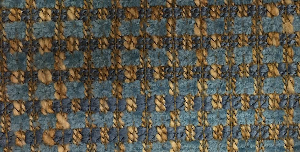 Aqua, Blue, and Nautral Woven Fabric