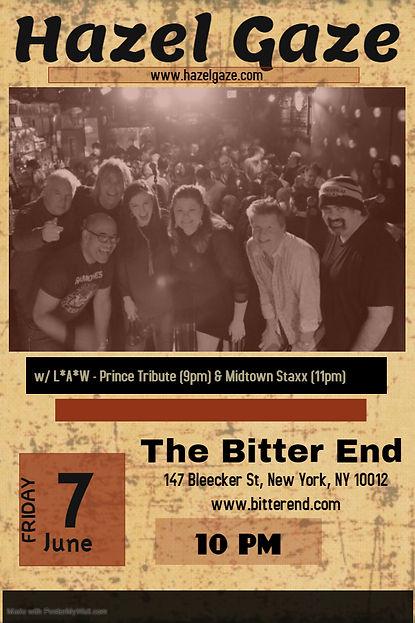 HazelGaze Bitter End June 7, 2019 Flyer.