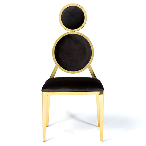 Black and Gold Tri-Cushion Dining Chair