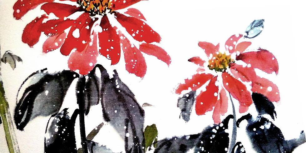 Microtaller acuarela oriental: flor de pascua (3)