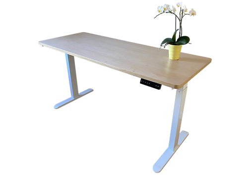 Wood desk top with 2-stage frame