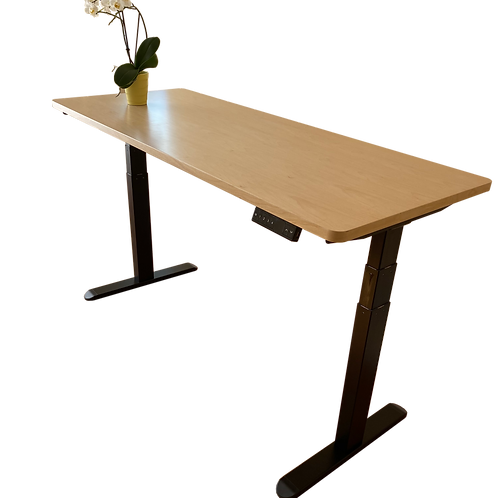 Wood desk top with 3-stage frame