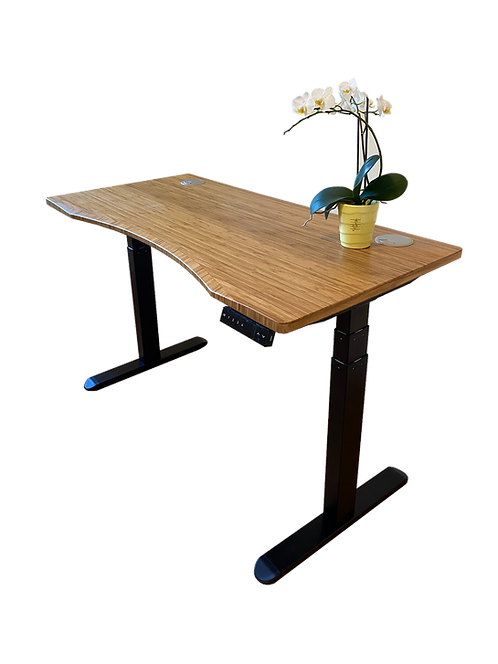 Bamboo curved desk top with 3-stage frame