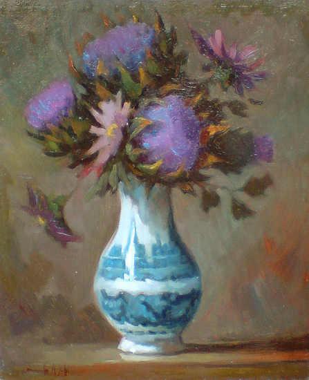 Vaso di fiori viola