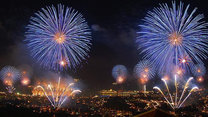 Madeira Fuochi artificiali a Madeira la notte di Capodanno
