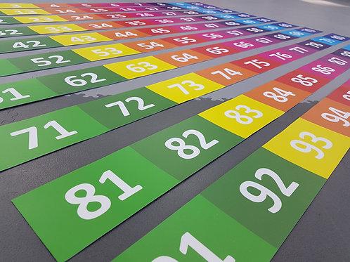 Zahlenfeld 1 - 100, 160 cm Breite