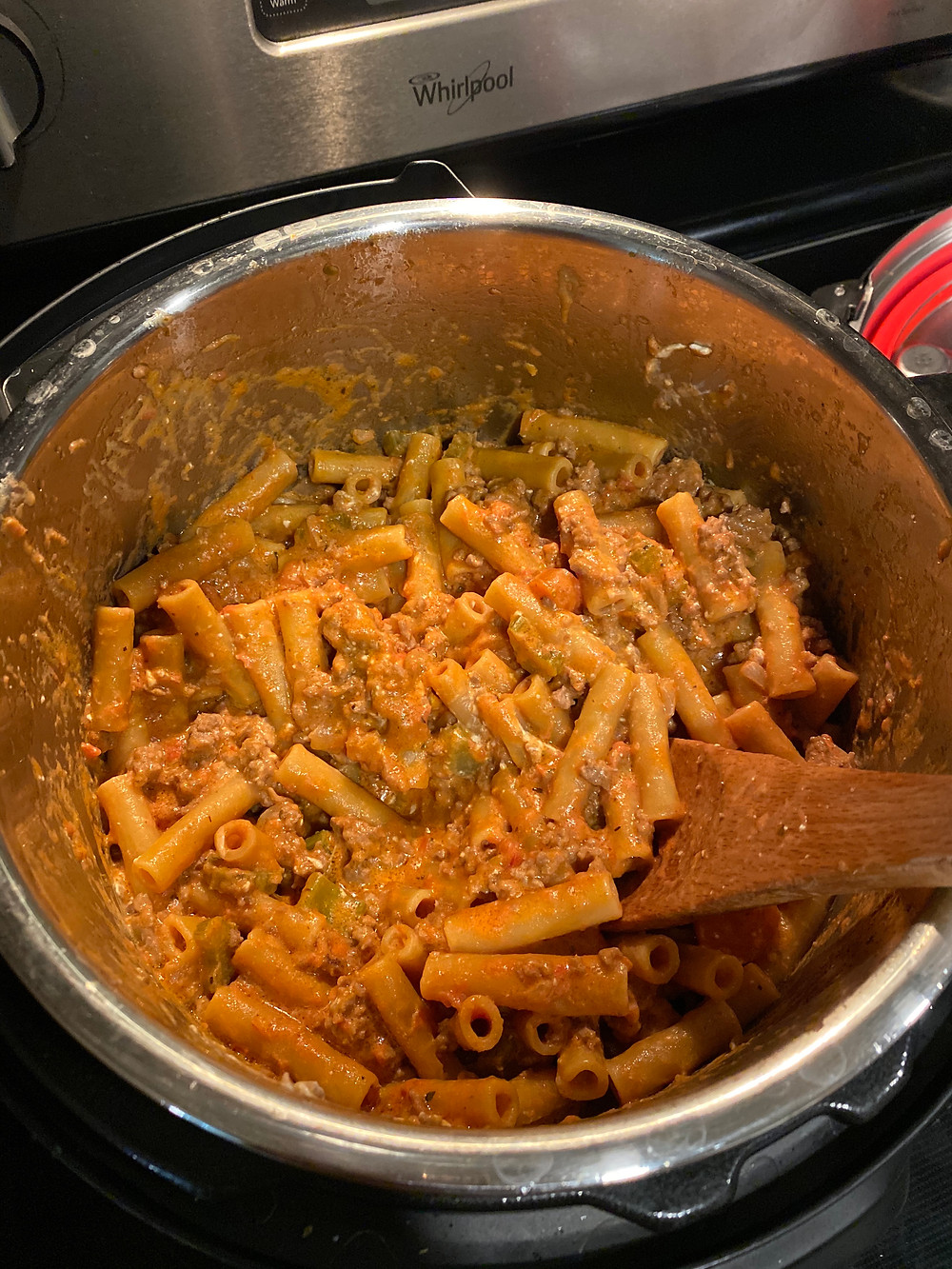 Pasta Bolognese that Galina Clark made in the InstaPot she received in her winter package.