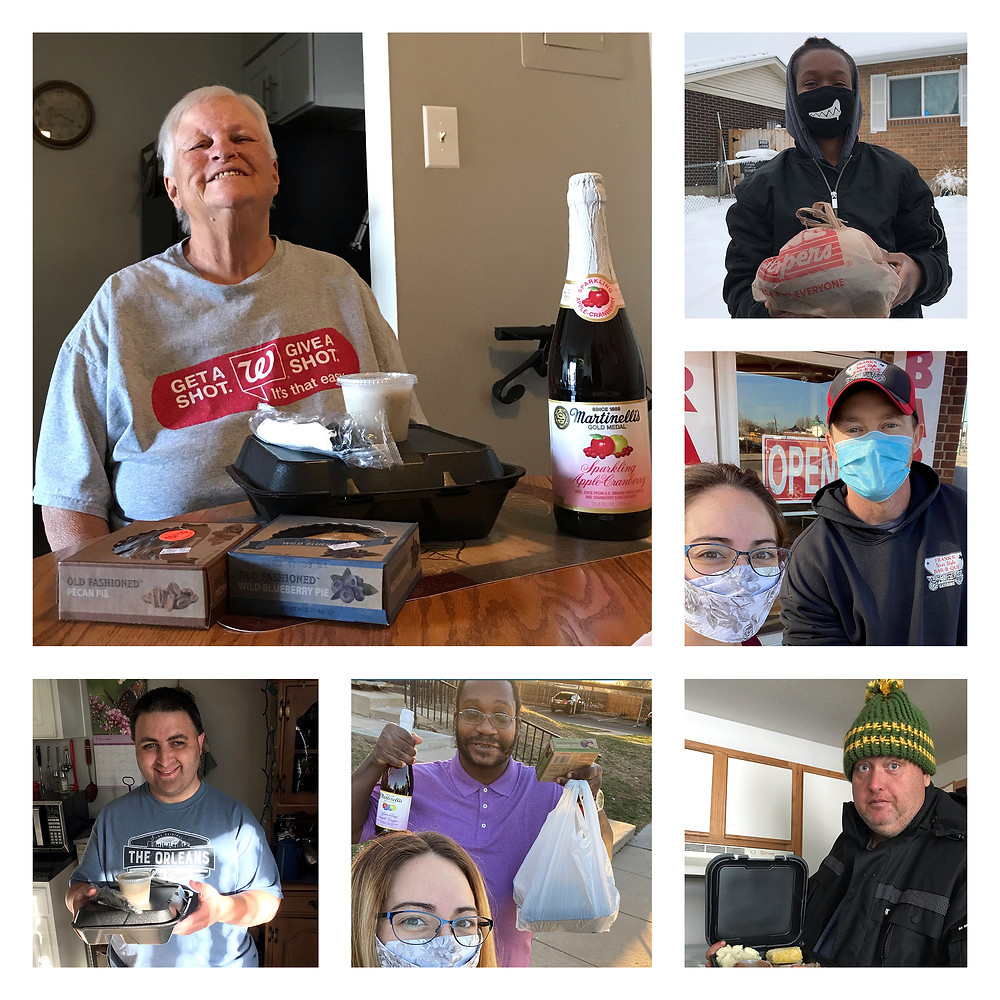 Collage of people holding Thanksgiving meals