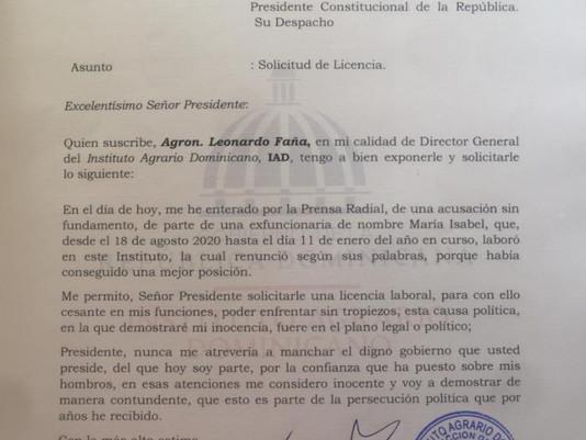 Abinader suspende en sus funciones a Leonardo Faña