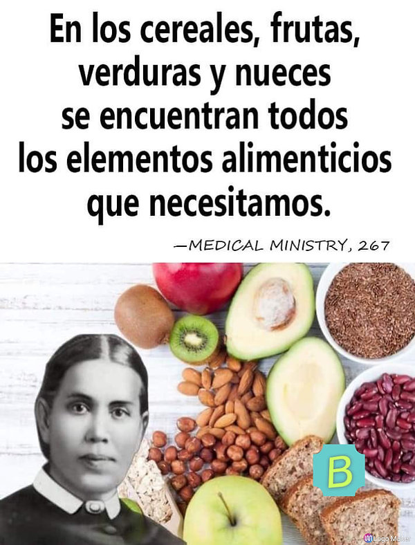 En los cereales, frutas, verduras y nueces. Elena White..jpg