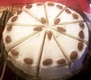 Vanilla Birthday cake with almond decor