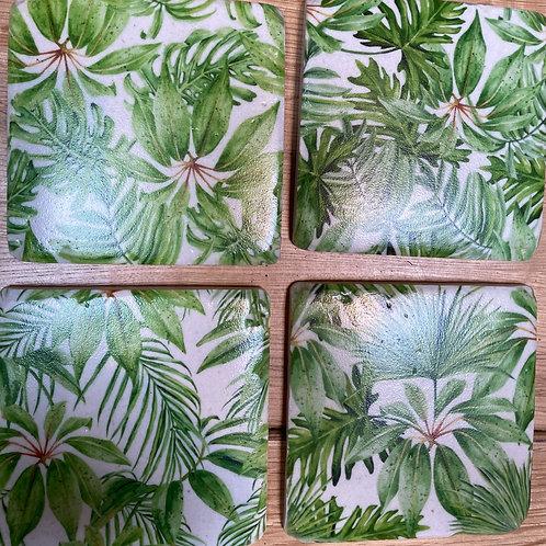 palm print coasters x 4