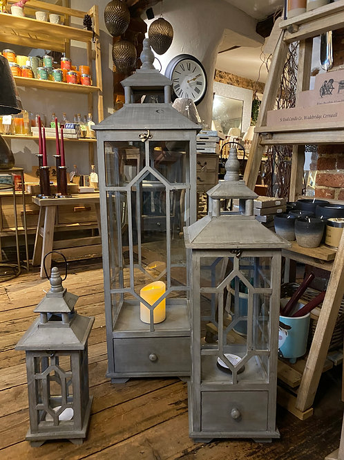Slate Grey Wooden Lantern Holders