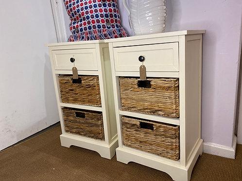 Off-white 2 basket one drawer bedside table