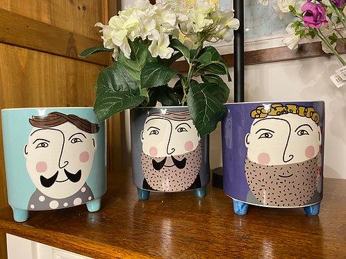 'Dapper chaps' ceramic pots
