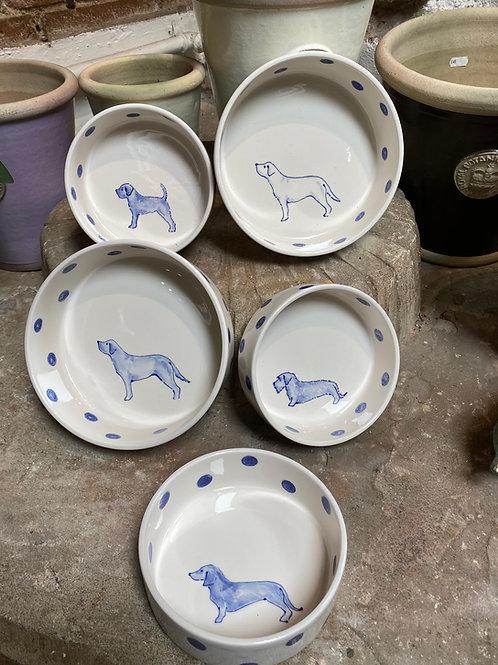 Hand painted ceramic dog bowl