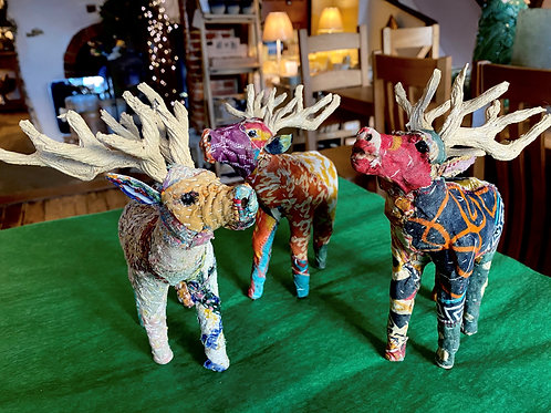 Handmade Patchwork Stag Ornament