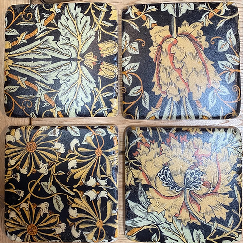 victorian floral coasters x 4