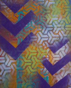 Spray Paint on wood block - SOLD