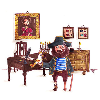 ©angelagstalter pirate illustration, kidsillustration, childrensbookillustration, characterdesign